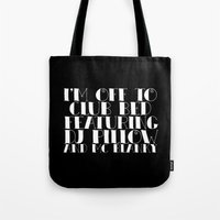 will ferrell Tote Bags featuring I'm off to Club Bed. Featuring DJ Pillow and MC Blanky. by Sara Eshak