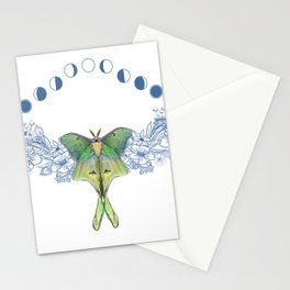Luna moth moon phase Stationery Cards