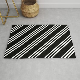 Black and White Large/Small/Small Stripes Rug
