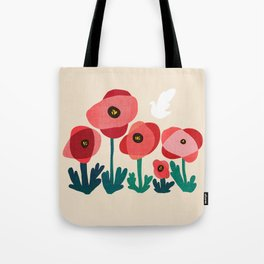 Poppy flowers and bird Tote Bag