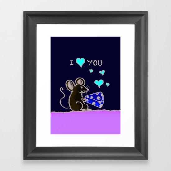 Mouse loves cheese Framed Art Print