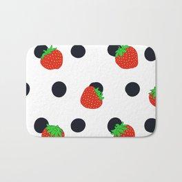 Polka dot and strawberries Bath Mat