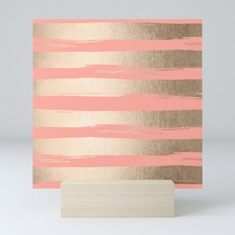 Painted Stripes Tahitian Gold on Coral Pink Mini Art Print