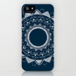 Precious white mandala on blue iPhone Case