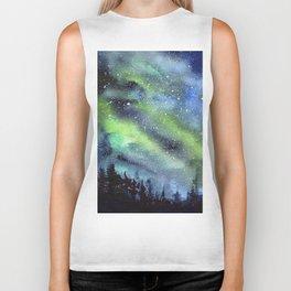 Galaxy Nebula Watercolor Northern Lights Aurora Borealis Biker Tank