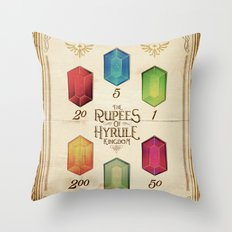 Legend of Zelda - The Rupees of Hyrule Kingdom Guide Throw Pillow