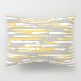 Colorful Stripes, Abstract Art, Yellow and Gray Pillow Sham