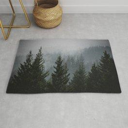 Forest Fog Mountain V - Wanderlust Nature Photography Rug