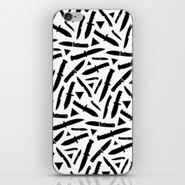 Survival Knives Pattern - Black and White iPhone Skin
