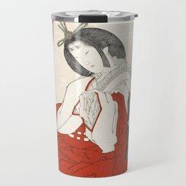 Woman with incense burner by Totoya Hokkei Travel Mug