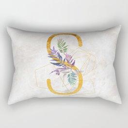 Modern glamorous personalized gold initial letter S, Custom initial name monogram gold alphabet prin Rectangular Pillow