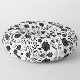 Black Mexican Flowers Floor Pillow