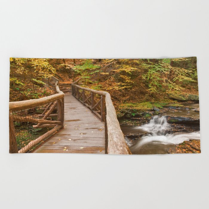 Autumn Boardwalk Bridge Beach Towel