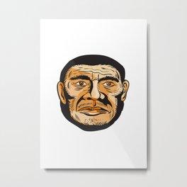 Neanderthal Man Head Etching Metal Print