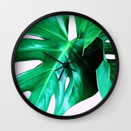 Cheese Plant Leaves Wall Clock