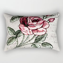 Shabby chic vintage rose and calligraphy Rectangular Pillow