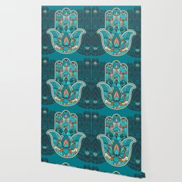 Hamsa Hand of Fatima, good luck charm, protection symbol anti evil eye Wallpaper