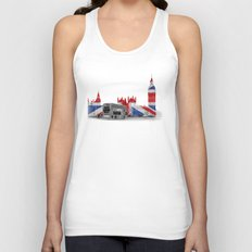 Big Ben, London Bus and Union Jack Flag Unisex Tank Top