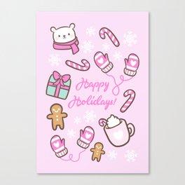 Cute Christmas // Pink Canvas Print