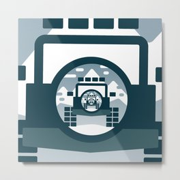 4x4 vehicle vector drawing in the mountains. Metal Print