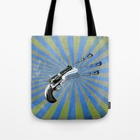 guns Tote Bags featuring guns by mark ashkenazi
