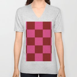 Red and Pink Checker Leviathan Unisex V-Neck