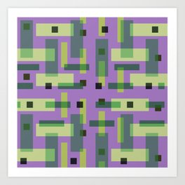 Purple, Green and Yellow Block City Art Print
