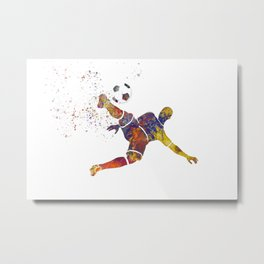 Soccer player in watercolor 12 Metal Print