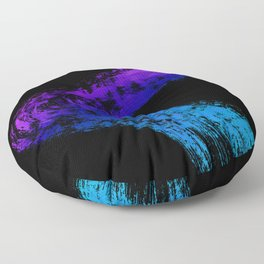 Fuchsia to Sky Blue Brush Drip Abstract Painting on Black Floor Pillow
