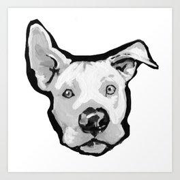 RESCUE ME Pit Bull Pitbull Dog Pop Art black and White Painting by LEA Art Print