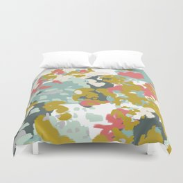 Rumor - Abstract painting, design pink mustard blue painterly design Duvet Cover