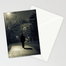 winter walk; morning commute Stationery Cards