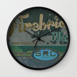 SRC Preparations. Racecar Rebels. Firebridge Poster Green Wall Clock