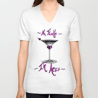asexual V-neck T-shirts featuring No, Thanks~ I'm Aces~ by Squidbiscuit