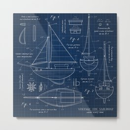 Toy Sailboat Blueprint Metal Print