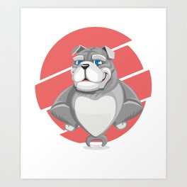Cute English Grey Bulldog Artwork Art Print