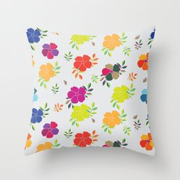 Yellow Blue and Green Flowers Throw Pillow