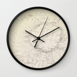 Crater Lake Vintage Map Wall Clock