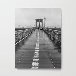 Black and White Brooklyn Bridge Metal Print