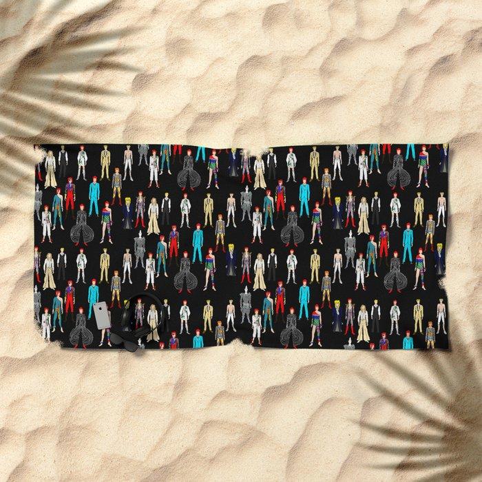 Heroes Scattered Pattern Black Beach Towel