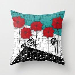 Applique. Poppies on turquoise black white background . Throw Pillow