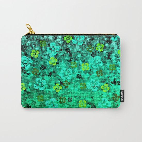 LUCK OF THE IRISH Colorful Emerald Green Ombre St Patricks Day Floral Shamrock Four Leaf Clover Art Carry-All Pouch