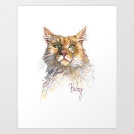 Digby the Red Torbi Siberian Cat Pet Portrait Art Print