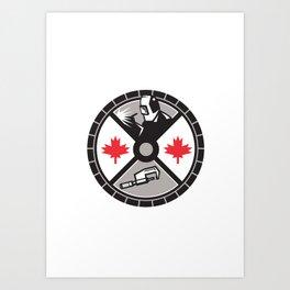 Welder Caliper Maple Leaf Circle Retro Art Print