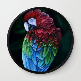 Green and Red Macaw Wall Clock