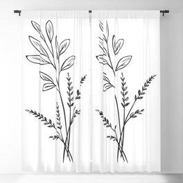 6-202-0, Black & White, Floral Botanical art, Wild flower, Plant Leaves, Boho decor, Blackout Curtain