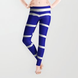 Horizontal Lines (White & Navy Pattern) Leggings