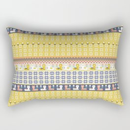 Fair Isle Christmas Alpaca Pattern Rectangular Pillow