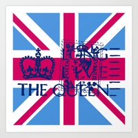 british flag Art Prints featuring British Flag in Pink by GraphicDivine