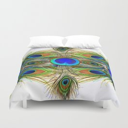 AWESOME BLUE-GREEN PEACOCK FEATHERS ART Duvet Cover